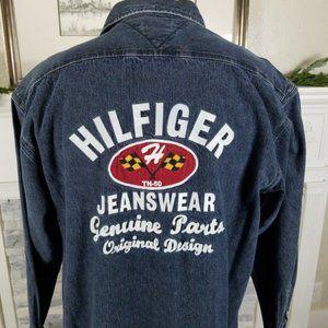 Vintage Tommy Hilfiger Spell Out Denim Shirt Jacke